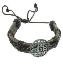 Metallic Mermaid Flower Tree Symbol Bracelet Black