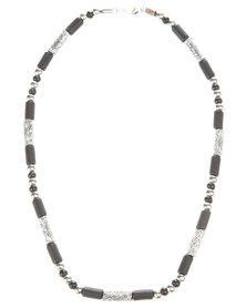 Metallic Island Style Necklace Black