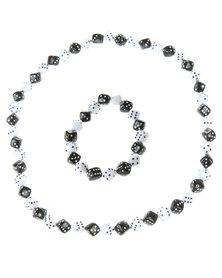 Metallic Mermaid Rolling Dice Bracelet & Necklace Set Multi
