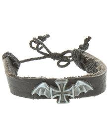 Metallic Mermaid Wing Cross Bracelet Black