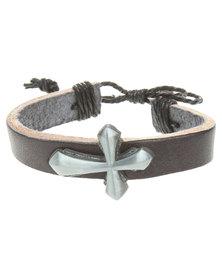 Metallic Mermaid Solid Cross Bracelet Black