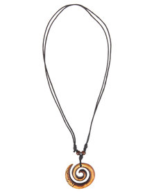 Metallic Mermaid Swirled Horn Necklace Brown