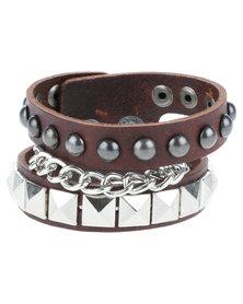 Metallic Mermaid Studded Chain Leather Bracelet Brown