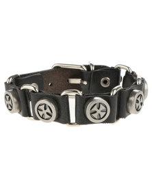 Metallic Mermaid Studded Loop Leather Bracelet Black