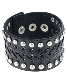 Metallic Mermaid Weave Studded Leather Bracelet Black
