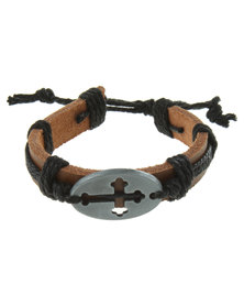 Metallic Mermaid Circle Cross Bracelet Black