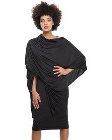 Michelle Ludek Fin 2 in 1 Poncho & Dress/Skirt Black