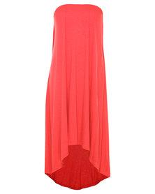 Michelle Ludek Mimi Hi Lo Dress Coral Orange