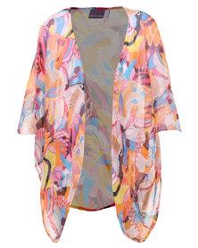 Michelle Ludek Peacock Print Kimono Multi