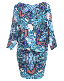 Michelle Ludek Stella Persian Palace Paisley Print Dress Multi