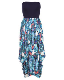 Michelle Ludek Charlie Persian Palace Paisley Print with Navy Band Dress Multi