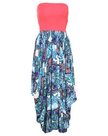 Michelle Ludek Charlie Persian Palace Paisley Print with Coral Band Dress Multi
