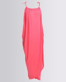 Michelle Ludek Halter Neck Maxi Dress Coral