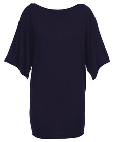 Michelle Ludek Jackie Kimono Sleeve Dress Navy