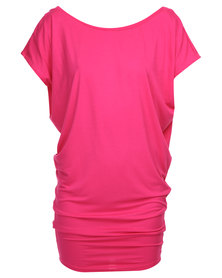 Michelle Ludek Jackie Back Cowl Dress Pink
