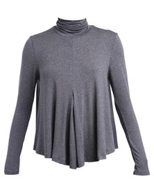 Michelle Ludek Lily Polo Neck Top Charcoal