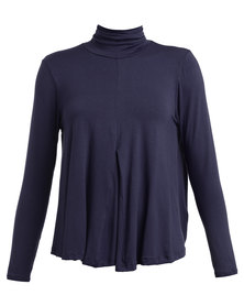 Michelle Ludek Lily Polo Neck Top Navy