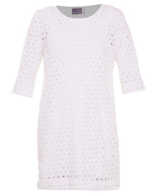 Michelle Ludek Macy Dress Punch Out Ivory