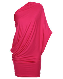 Michelle Ludek Cameron One Shoulder Drape Dress Pink
