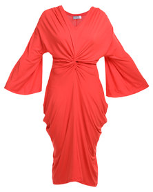 Michelle Ludek Exclusive Knot Tie Dress Red