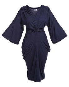 Michelle Ludek Exclusive Knot Tie Dress Navy Blue