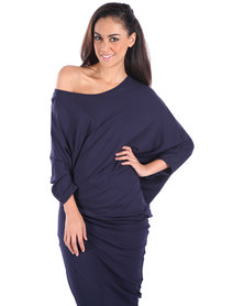 Michelle Ludek Stella Off-The-Shoulder Dress Navy