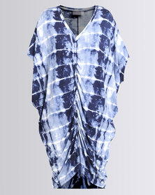 Michelle Ludek Iris Tie Dye Print V-Neck Ruched Centre Front Dress Blue