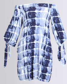 Michelle Ludek Rosie Off Shoulder Tie Dye Dress Blue