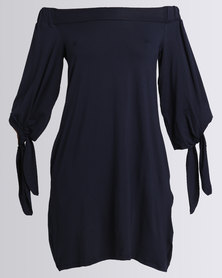 Michelle Ludek Rosie Off Shoulder Dress Navy
