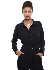Michelle Ludek Jamie Shirt Jumpsuit Black