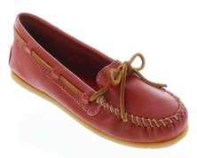 Minnetonka Smooth Leather Moccasins Red