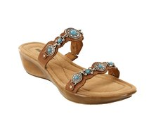 Minnetonka Boca Slide II Sandals Saddle Brown