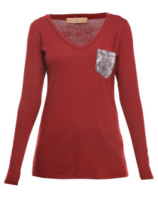 Mint Long Sleeve Modal Top With Snakeskin Pocket Red