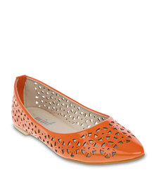 Mint Cutout Pointy Pumps Orange