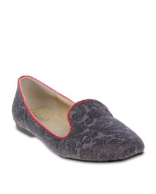 Mint Paisley Slipper Pumps Grey