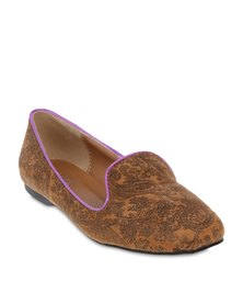 Mint Paisley Slipper Pumps Tan