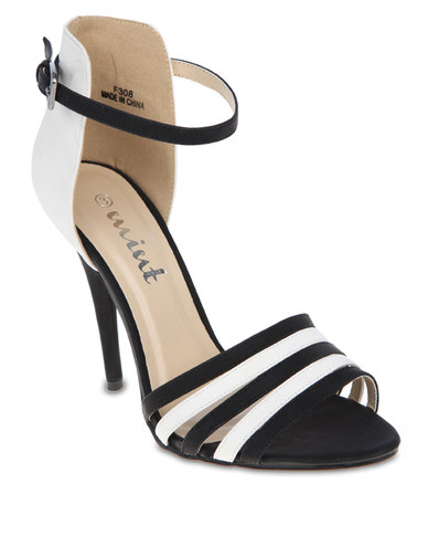 Mint Contrast Ankle Strap Shoes Black White