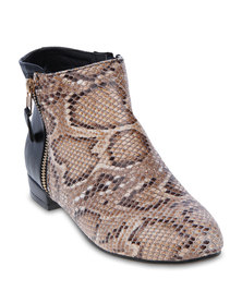 Mint Contrast Snakeskin Ankle Boot Beige And Black