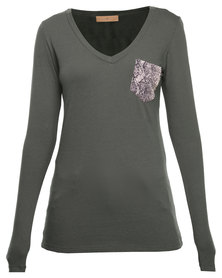 Mint Long Sleeve Modal Top With Snakeskin Pocket Green