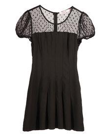 Mint Lace Insert Dress Black