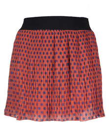 Mint Knife Pleated Polka Dot Printed Skirt Red