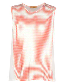 Mint A250 Stripe And Solid Combo Top Pink
