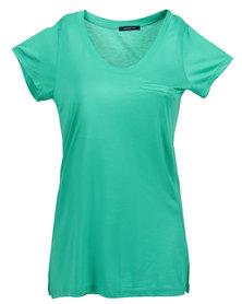 Mint  Tencel Tee Dress With Pocket Green