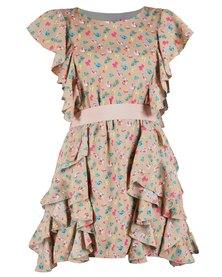 Mint Ditsy Print Dress Beige
