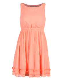 Mint Sunray Pleated Dress Coral