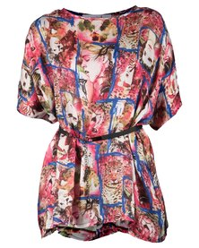 Mint Artwork Print Tunic Top With Viscose Sleeves Red