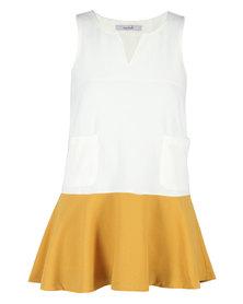 Mint Colourblock Short Shift Dress White And Yellow