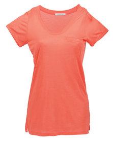 Mint Ladies Luxury Tencel T Shirt Coral