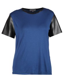 Mint Viscose Top With Leatherette Sleeves Blue