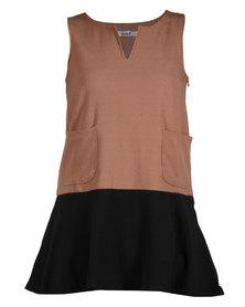 Mint Colourblock Short Shift Dress Brown and Black